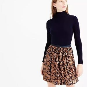 NWT J. Crew Abstract Sequin Skirt - Navy & Copper